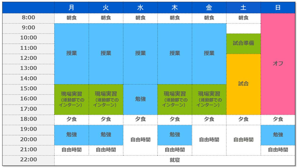 College management weekly schedule